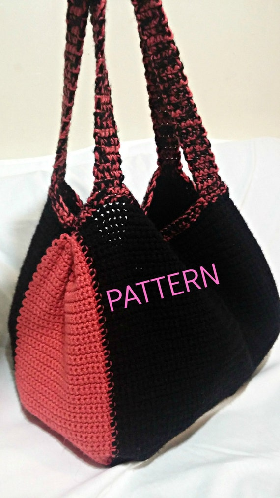 Pattern Crochet Tote Pattern Black And Coral Tote Bag