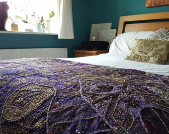 Vintage Bedspread/Table Runner/Art - Handmade