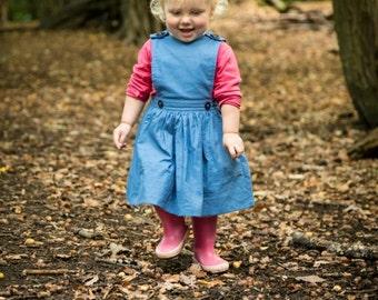 Girls pinafore dress, summer dress, pinafore, first birthday,  dress, vintage baby, toddler dress, jumper dress, party dress, blue dress