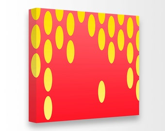 Mid Century Modern Op Art Drops Giclee Gallery Wrapped Canvas Ready To Hang Art Large Living Room Yellow & Red Nursery Art Bedroom Decor