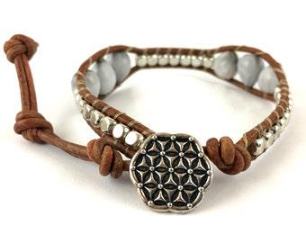 Single leather wrap bracelet with grey South African Imfibinga beads