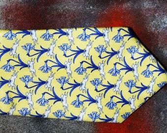 Vintage JONELLE silk tie Italian yellow blue tie  animal print tie novelty print tie floral tie abstract tie Christmas gift for him MOD tie