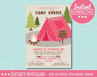 Camping Birthday Party Invitation -  EDITABLE - INSTANT DOWNLOAD - Editable File - Personalize - Edit Yourself with Adobe Reader-Printable