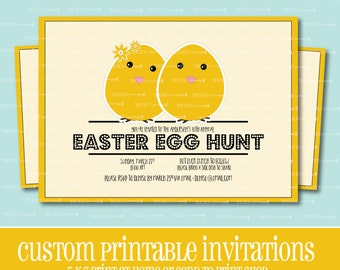 Custom EASTER EGG Hunt Invitation, PRINTABLE, Easter, Easter Lunch, Egg, Invitation, Chick, Egg Hunt, Party Invite, Digital, Custom Invite