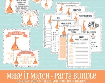 Make It Match Fox BABY SHOWER Party BUNDLE, Fox, Baby Shower Games, Baby, Shower, Entire Party, Bundle, Package,Instant Download, Fox Theme