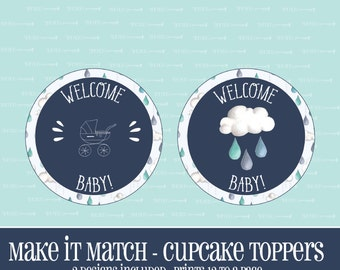 Make It Match,Rain Drop,BABY Shower CUPCAKE TOPPERS,Printable,Baby Shower,Baby,Instant Download,Cupcake,Topper,Cupcake Topper,RainDrop Theme