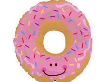"Donut Balloon Large 30"" Mylar Foil Balloon Pink Sprinkles Donut Balloon Cookie Donut Balloon"