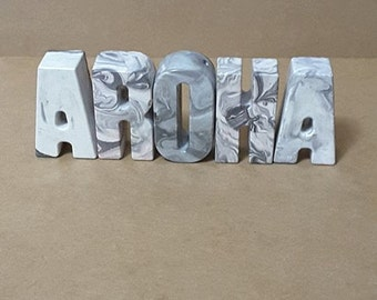 Concrete letters! create any name or word(s) you want! Write a NOTE TO SELLER at checkout :D