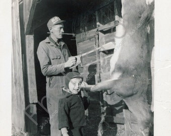HUNTERS Crazy Cool Photo of boy's first deer! Cleaning the Deer - hunting - Vintage Snapshot 1950s-60s