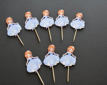 Sofia cupcake toppers - Set of 8, sofia tooth picks, cupcake toppers