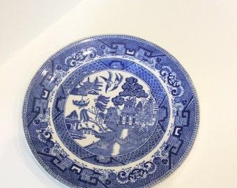 Vintage blue willow salad plate semi china ridgway