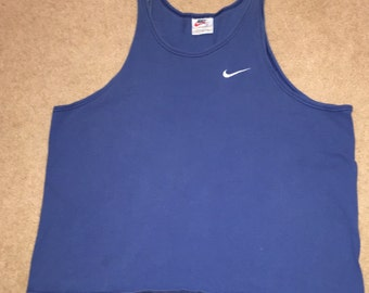 Vintage cotton sleeveless tank athletic shirt in royal blue by Nike, Sz XL