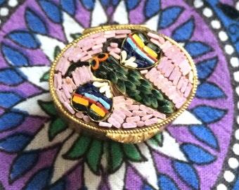Vintage Micro Mosaic Pill Box Black Bee Italy