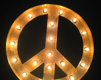 """24"""" Vintage Marquee Light Peace Sign (rustic) 24"""" Free Shippingg"""