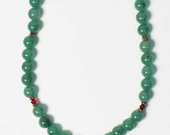 Jumbo Green Jade Beads Necklace