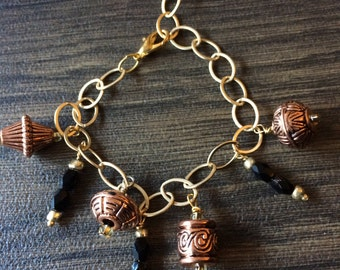 Copper and Crystal Charm Bracelet #13