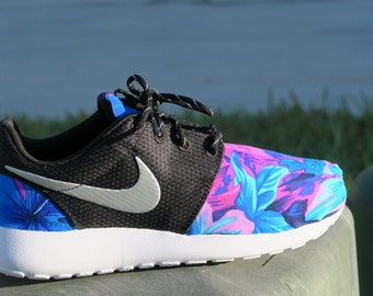 NEW! Tahitian BLUE PINK Floral Custom Women Nike Roshe