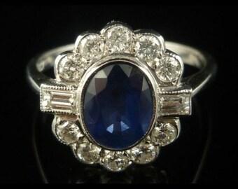 Deco Ring - 1.50CT Sapphire & 1CT Diamond 18CT Gold Ring