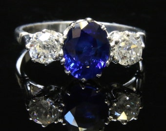 Antique Engagement Ring ...  Fabulous 1.80CT Sapphire & 1.20CT Old Cut Diamond Trilogy Ring