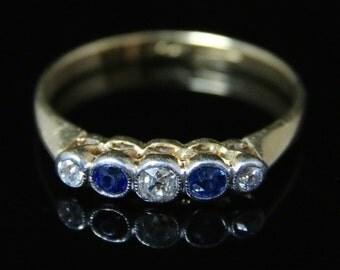 Antique Edwardian Diamond Sapphire Ring - Five Stone Eternity 18ct Gold