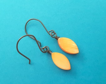 Tropical Orange Mother of Pearl Drops . Earrings.