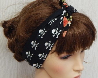 Rockabilly reversible headband, tie up 50's hair scarf, retro style hair band, Gothic hair bandanna, Goth floral head wrap