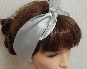 Silver colour satin headband, silky pin up headscarf, self tie hair scarf, rockabilly hair band, vintage style head scarf