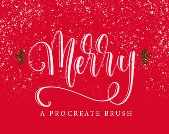 Merry - A Procreate Lettering Brush by Printable Haven made for the iPad Pro and Apple Pencil.