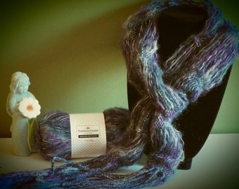 Purple, Blue and Silver Mohair Metallic Knitted Scarf