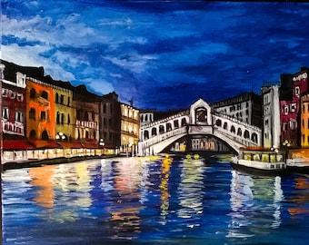 Venice Bridge at Sundown acrylic on canvas