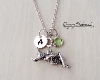 Grasshopper Necklace - Personalized Monogram Initial and Birthstone - Pewter Jewelry - Cricket Charm