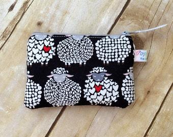 Coin purse /coin pouch/ small zipper pouch/ whimsical sheep
