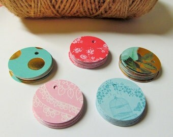 100 Round Designer Pattern Gift Tags - Assorted Patterns of Textured Cardstock - Favor Tags - Bridal tags - Price tags - Merchandise Tags