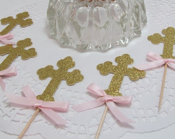 Gold Glitter Cross Cupcake Toppers, Food Picks, Dessert Bars, Baby Showers, 1st Communions, Baptisms, Wedding Favors, Confirmations,