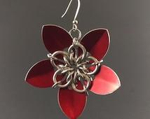 Scale Maille Flower Earrings