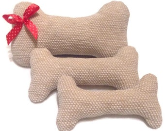 Set of 3 Plush Dog Bones, (without squeaker) Dog gift