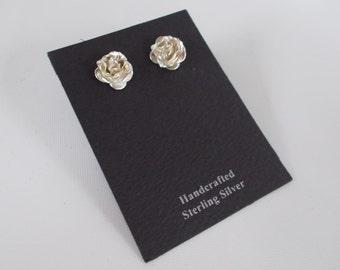 Sterling silver .925 Rose Stud Post Earrings