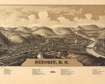 Map of Deposit, New York : 1887.  Burleigh, L. R. Delaware County.  Reproduction Vintage Bird's Eye View map Print. NY0183