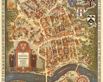 Old map prospect of Harvard university and Radcille college 1935. Restoration Hardware Home Deco Style Old Wall Vintage Reprint