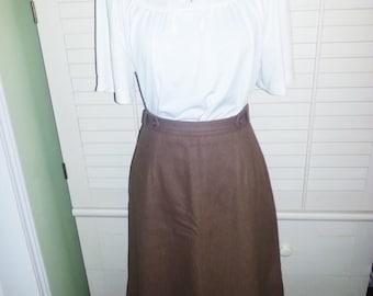 Vintage brown wool skirt, vintage wool skirt, vintage brown skirt.
