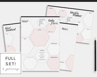 Daily Planner Printable Set. To Do List. Day Organizer. Planner and organize. Business planner. Entrepreneur Planner. Woman Gift. Pink