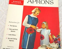 Vintage 1960s Apron Sewing Pattern Book, How to Make Aprons, Singer Sewing Library 119, Sewing Book, Singer Pattern book, Apron Pattern Book