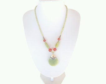 Jade Necklace / green jade / carnelian /  unique necklace  / gift / present for mum / gift for her / fall fashion / autumn