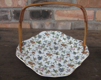 Vintage Japanese Ceramic Plate with Handle and Floral Design / Serving Plate with Wood Handle / Basket Plate
