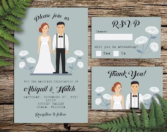 Custom Illustrated Wedding invitation, Couple Portrait, Full Body drawing, Gray, Dandelions
