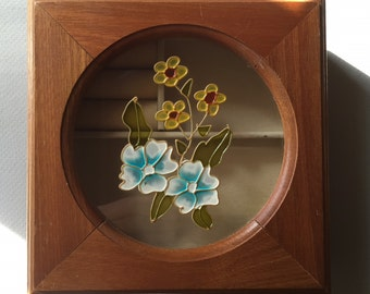 Square Wooden Jewelry Box with Blue and Yellow Wildflowers Painted on the Glass.