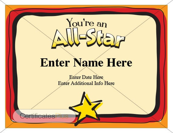 Elegant Kid Certificate, All Star Certificate, Award Certificate Template, Child  Certificate, Kids Gifts, Womens Gifts, Sports Certificates  Name A Star Certificate Template