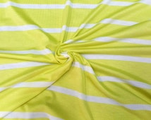 Jersey Knit Stretch Striped Fabric Rayon Spandex Stripe - Lime and Cream.