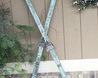Skis, Decorative Skies, Painted Skis, Cross Country Skis Decoration, Porch Decor, Welcome Winter Decor, lodge/cabin decor