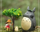4pc Set Mei Tree Totoro Figurine Home Decor Ornaments Fairy Garden Accessories Miniature Fairies Bedroom Display Plants Succulent